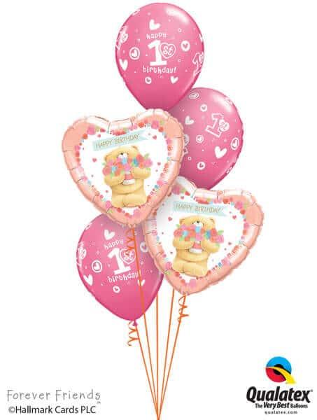 Bukiet 308# - 18″ / 46cm Forever Friends - Birthday Bear Girl Qualatex #45353_2, 41185_3