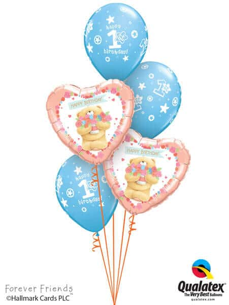 Bukiet 309# - 18″ / 46cm Forever Friends - Birthday Bear Boy Qualatex #45353_2, 41186_3