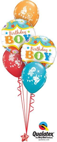 Bukiet 284# – 18″ / 46cm Birthday Boy Circus Stars Qualatex #25233_2, 17935_3