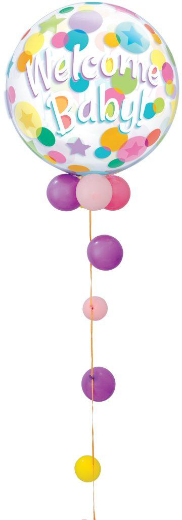Bukiet 312# - 22″ / 56cm Welcome Baby Colourful Dots Qualatex #25860 Special