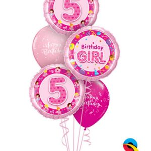 Bukiet 341# - 18″ / 46cm Birthday Girl Pink #26273, 26315_2, 25588_2