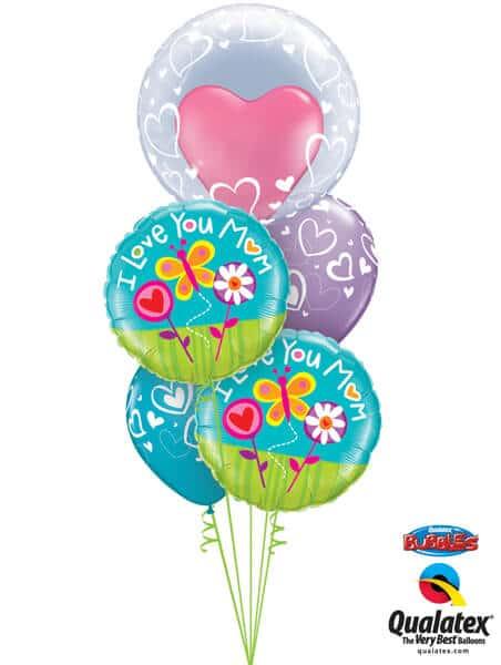 Bukiet 331# - 24″ / 61cm Deco Bubble - Stylish Hearts #29505, 11842_2, 11123_2