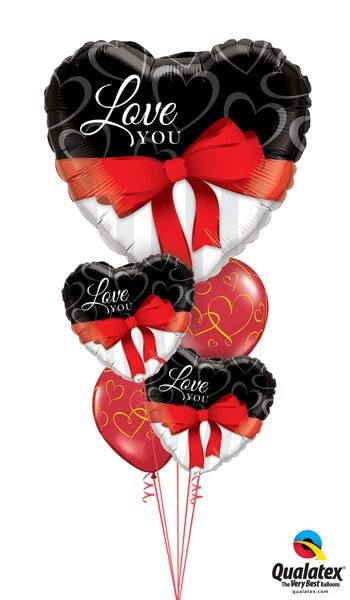 Bukiet 332# - 36″ / 91cm Love You Red Ribbon Qualatex #21656, 21647_2, 40862_2