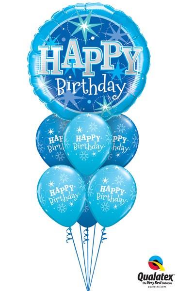 Bukiet 335# - 36″ / 91cm Birthday Blue Sparkle #43216, 17936
