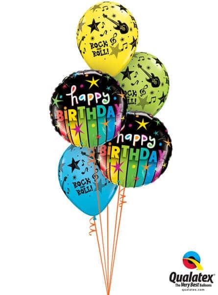 Bukiet 321# – 18″ / 46cm Birthday Colourful Stripes Qualatex #25289_2, 44795_3