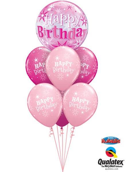 Bukiet 325# - 22″ / 56cm Birthday Pink Starburst Sparkle #43121, 25588_6