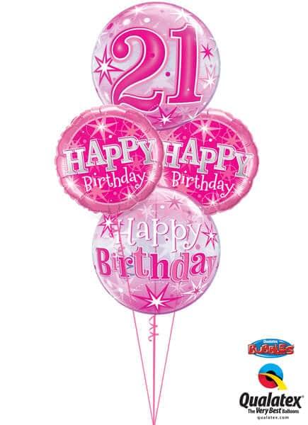 Bukiet 337# - 22″ / 56cm Birthay Pink Starburst Sparkle#43121, 43123, 37913_2