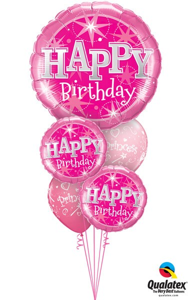 Bukiet 336# - 36″ / 91cm Birthday Pink Sparkle #43172, 37913_2, 17938_2