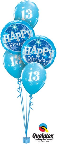 Bukiet 334# - 18″ / 46cm Birthday Blue Sparkle #37919_2, 44914_3
