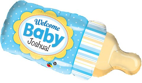 """39"""" / 99cm Welcome Baby Bottle Blue Qualatex #16472"""