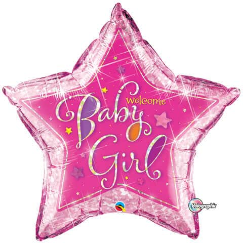 36″ / 91cm Welcome Baby Girl Stars Qualatex #16577