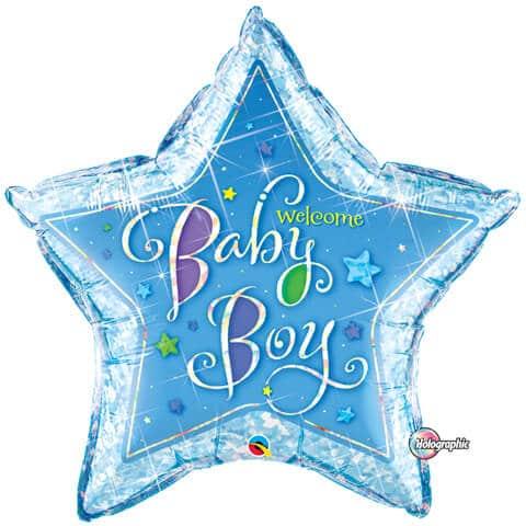 36″ / 91cm Welcome Baby Boy Stars Qualatex #16614