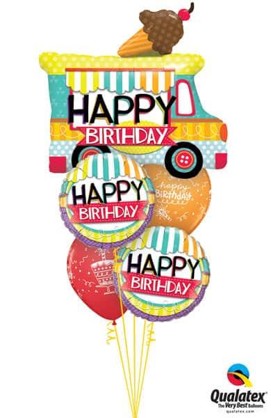 Bukiet 345# – 36″ / 91cm Birthday Ice Cream Truck #26527, 26529_2, 43059_2