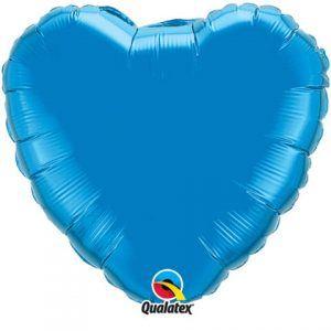"18"" / 46cm Solid Colour Heart Sapphire Blue Qualatex #99591"