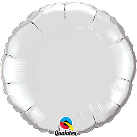 "18"" / 46cm Solid Colour Round Silver Qualatex #99588"