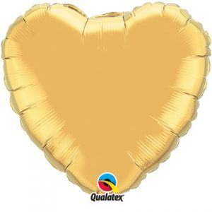 "18"" / 46cm Solid Colour Heart Metallic Gold Qualatex #99597"