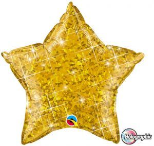 """20"""" / 51cm Holographic Solid Colour Star Gold Qualatex #41271"""