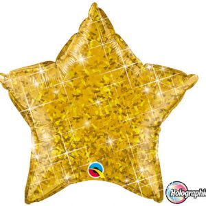 "20"" / 51cm Holographic Solid Colour Star Gold Qualatex #41271"