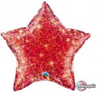 "20"" / 51cm Holographic Solid Colour Star Jewel Red Qualatex #41280"