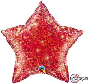 """20"""" / 51cm Holographic Solid Colour Star Jewel Red Qualatex #41280"""