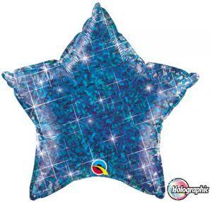 "20"" / 51cm Holographic Solid Colour Star Jewel Blue Qualatex #41284"