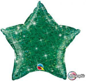 """20"""" / 51cm Holographic Solid Colour Star Jewel Green Qualatex #41288"""