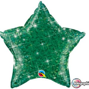 "20"" / 51cm Holographic Solid Colour Star Jewel Green Qualatex #41288"