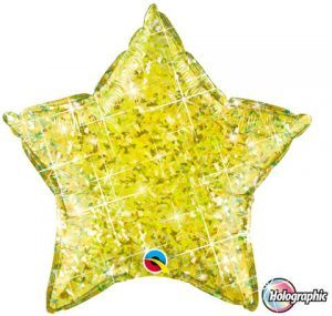 """20"""" / 51cm Holographic Solid Colour Star Jewel Yellow Qualatex #41292"""