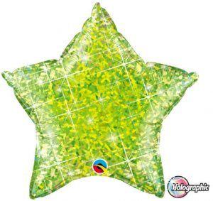 """20"""" / 51cm Holographic Solid Colour Star Jewel Lime Qualatex #41300"""