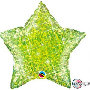 "20"" / 51cm Holographic Solid Colour Star Jewel Lime Qualatex #41300"