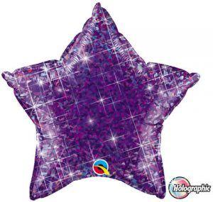 "20"" / 51cm Holographic Solid Colour Star Jewel Purple Qualatex #41309"