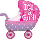 "35"" / 89cm It's A Girl Baby Stroller Qualatex #43289"