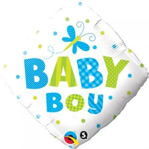 "18"" / 46cm Baby Boy Dots & Dragonfly Qualatex #14666"