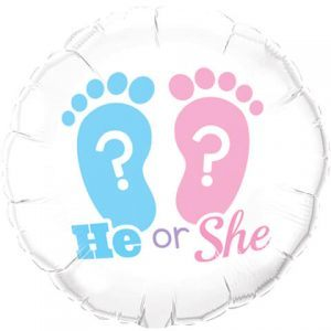 "18"" / 46cm He Or She? Footprints Qualatex #17079"
