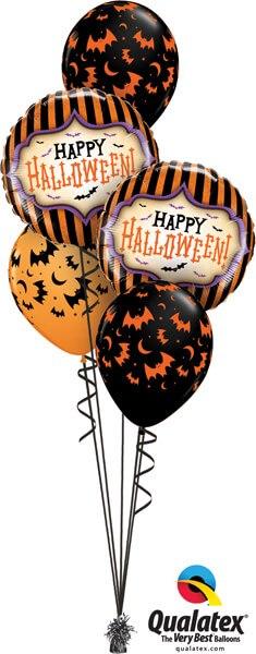 """Bukiet 362# - 18"""" / 46cm Halloween Stripes Qualatex #18408_2, 40070_3"""