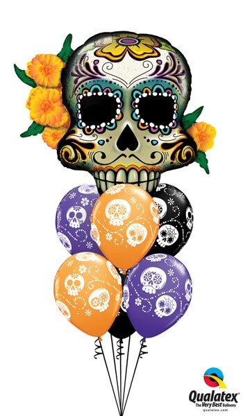 "Bukiet 358# - 38"" / 96cm Day Of The Dead Skull Qualatex #44228, 47347_6"