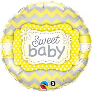 "18"" / 46cm Sweet Baby Yellow Patterns Qualatex #25856"
