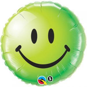 "18"" / 46cm Smile Face Green Qualatex #29628"