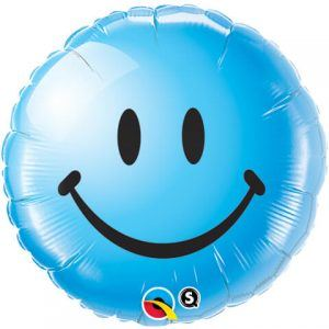 "18"" / 46cm Smile Face Blue Qualatex #29640"