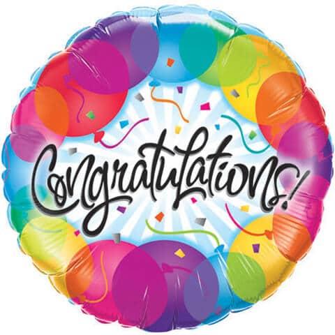 """18"""" / 46cm Congratulations Balloons Qualatex #33360"""