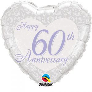 "18"" / 46cm Happy 60th Anniversary Heart Qualatex #82341"