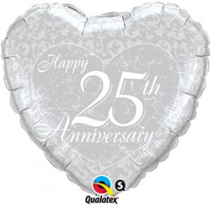 "18"" / 46cm Happy 25th Anniversary Heart Qualatex #91937"