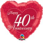 "18"" / 46cm Happy 40th Anniversary Heart Qualatex #91940"