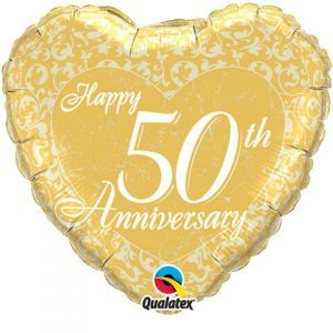 "18"" / 46cm Happy 50th Anniversary Heart Qualatex #91943"