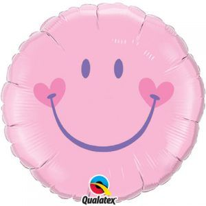"18"" / 46cm Sweet Smile Face - Pink Qualatex #99573"