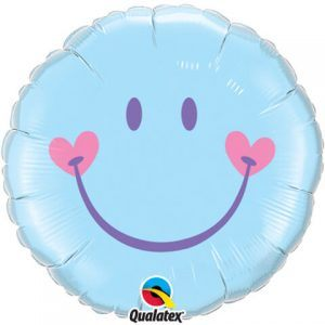 "18"" / 46cm Sweet Smile Face - Pale Blue Qualatex #99576"