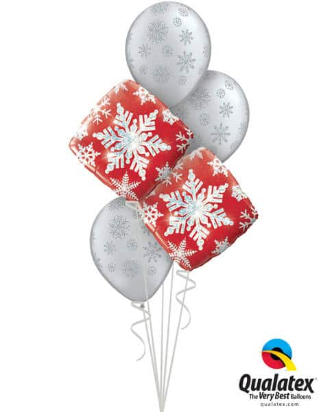 Bukiet 464# – 18″ / 46cm Snowflake Sparkles Red Qualatex #40093_2, 80170_3