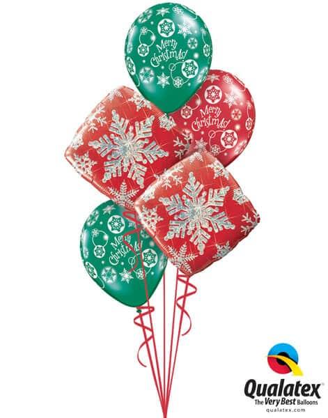 Bukiet 463# - 18″ / 46cm Snowflake Sparkles Red Qualatex #40093_2, 60132_3