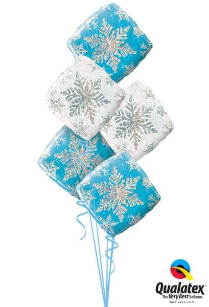 Bukiet 466# - 18″ / 46cm Snowflake Sparkles Blue Qualatex #40089_3, 40091_2