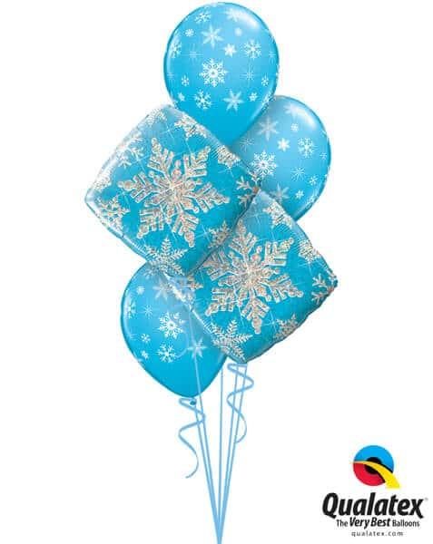 Bukiet 461# - 18″ / 46cm Snowflakes Sparkles Blue Qualatex #40089_2, 33531_3